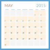 Calendar 2015 Vector Flat Design Template. May. Week Starts Sunday