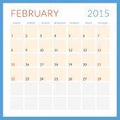 Calendar 2015 Vector Flat Design Template. February. Week Starts Sunday