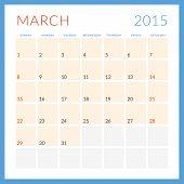 Calendar 2015 vector flat design template. March. Week starts Sunday