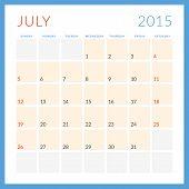 Calendar 2015 vector flat design template. July. Week starts Sunday