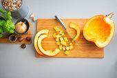 Closeup On Pumpkin On Cutting Board