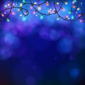 Blue party background with garland and bokeh