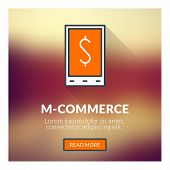 Flat Design Concept For M-commerce. Vector Illustration With Blurred Background