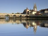 German city Regensburg with historical old stone bridge
