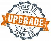 Time To Upgrade Vintage Orange Seal Isolated On White