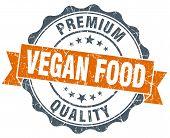 Vegan Food Vintage Orange Seal Isolated On White