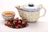 Tea composition with crockery and tea