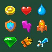 Cartoon icons set for game Vector illustration.