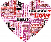 Heart Shaped Valentine Themed Typographical Pattern.