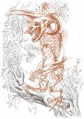 image of bigfoot  - Illustration of a series of legendary animals and monsters  - JPG