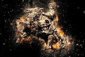 Equestrian Statue Of Bohdan Khmelnytsky In Kyiv. Artistic Grunge Fury Effect