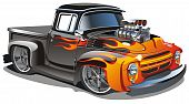 stock photo of muscle-car  - Vector cartoon retro hot - JPG
