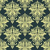 foto of dainty  - Yellow dainty floral damask seamless pattern on grey background for wallpaper and interior design - JPG