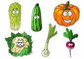 Happy colorful fresh cartoon vegetables