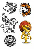 Cartoon and heraldic  lion characters
