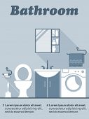 picture of wash-basin  - Bathroom flat interior decor and design infographic with editable text space showing a toilet - JPG