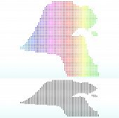 Map Of State Of Kuwait  With Dot Pattern
