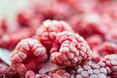 picture of frozen  - Frozen raspberry berries - JPG
