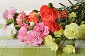 stock photo of carnation  - Close up of bouquet of colorful flowers carnation - JPG