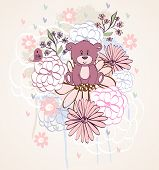 foto of bear  - Stylish floral background with cartoon bear and  bird in light colors - JPG