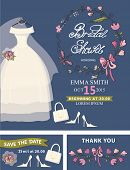 Bridal shower template set.Wedding dress,floral decor,accessorie