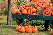 Pretty green wagon with seasonal pumpkins and Jack-O-Lanterns