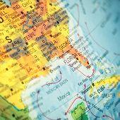 Map Southeast Usa. Close-up Image