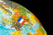 pic of flag pole  - map with miniature flag of France - JPG