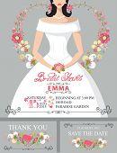 Bridal shower invitation set.Bride portrait,floral decor