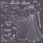 Bridal shower Dress,accessories set.Vintage outline vector