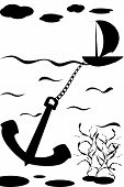 Illustration of ship on waves in sea with anchor