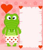 Pink Valentine's day background with crocodile