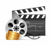 Movie clapper and film reel over white background