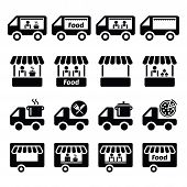 Food truck, food stand and food trailer icons set