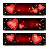 Set Of Horizontal  Banners With Red Ruby Heart Shapes