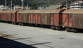 image of boxcar  - Train boxcar in a town in Italy - JPG