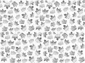 Seemless Pattern With Maple Leaves In Black And White