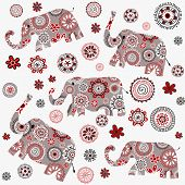 foto of indian elephant  - Indian style background with patterned elephants and flowers - JPG