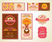 Vintage Happy Easter Greeting Cards Design.