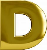 picture of letter d  - Gold Metal D letter character isolated on white - JPG