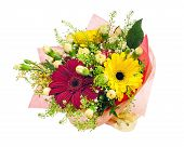 Beautiful Bouquet Of Gerbera, Carnations And Other Flowers.