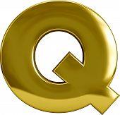 Gold Metal Letter Q