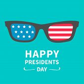 Glasses with stars and strips. Presidents Day background flat design