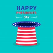 Big hat with stars and strip. Presidents Day background flat design