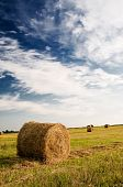 Field, Bales And Amazing Blue Sky With White Clouds.