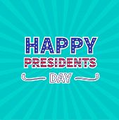 Blue sunburst with ray of light. Presidents Day background flat design