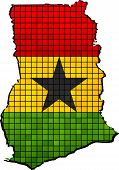 Ghana map with flag inside