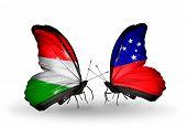 pic of samoa  - Two butterflies with flags on wings as symbol of relations Hungary and Samoa - JPG