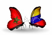Two Butterflies With Flags On Wings As Symbol Of Relations Morocco And Venezuela