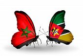 Two Butterflies With Flags On Wings As Symbol Of Relations Morocco And Mozambique